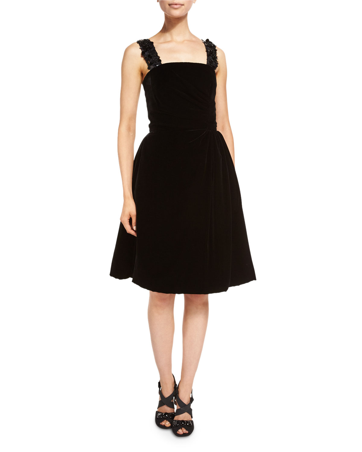 Sleeveless Square-Neck Velvet Cocktail Dress, Black
