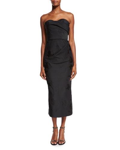 Strapless Draped Cocktail Dress, Black