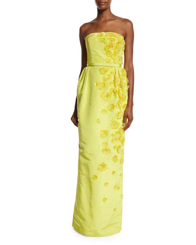 Belted Strapless Rosette Gown, Citron