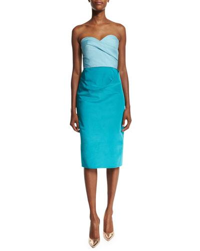 Colorblock Strapless Sweetheart-Neck Midi Dress, Celeste