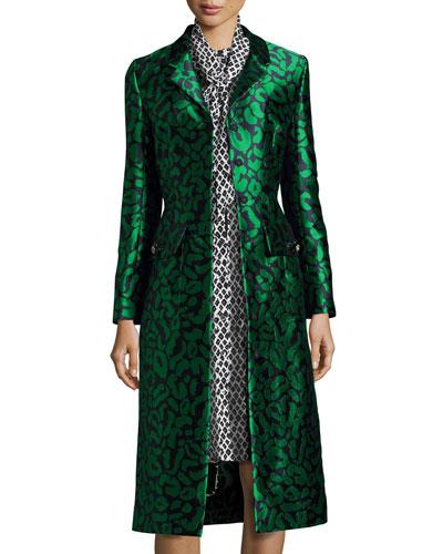 Leopard Jacquard A-Line Coat, Navy/Green