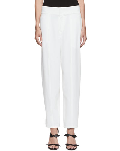 Pompom-Trim Wide-Leg Pants, Milk