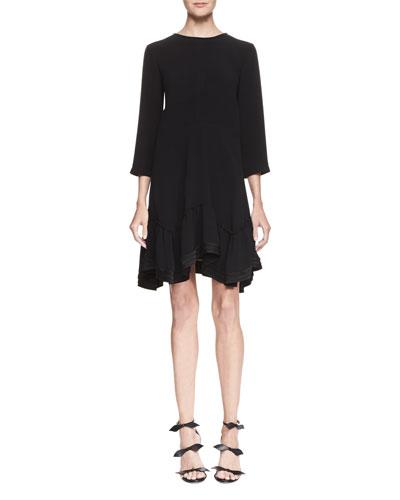 3/4-Sleeve Asymmetric-Hem Silk Dress, Black