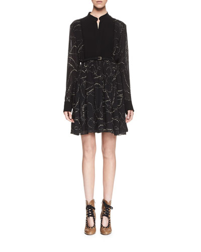 Embroidered Pintucked Long-Sleeve Dress, Black