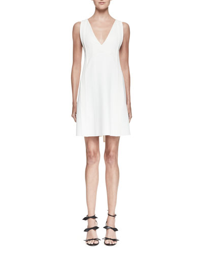 Sleeveless Tie-Back Mini Dress, White