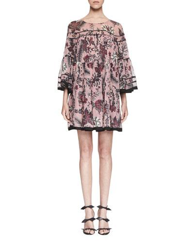 Cactus-Print Silk Babydoll Dress, Pink/Burgundy