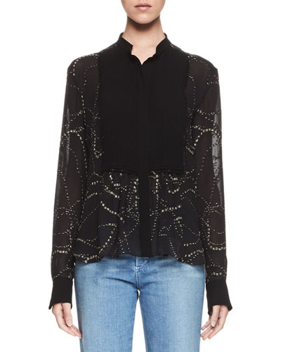 Embroidered Pintucked-Bib Blouse, Black