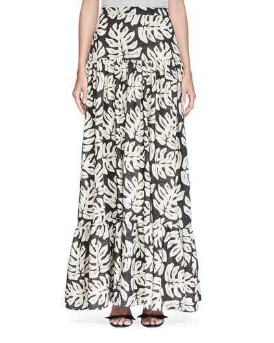 Palm-Print Pleated Maxi Skirt, White/Black