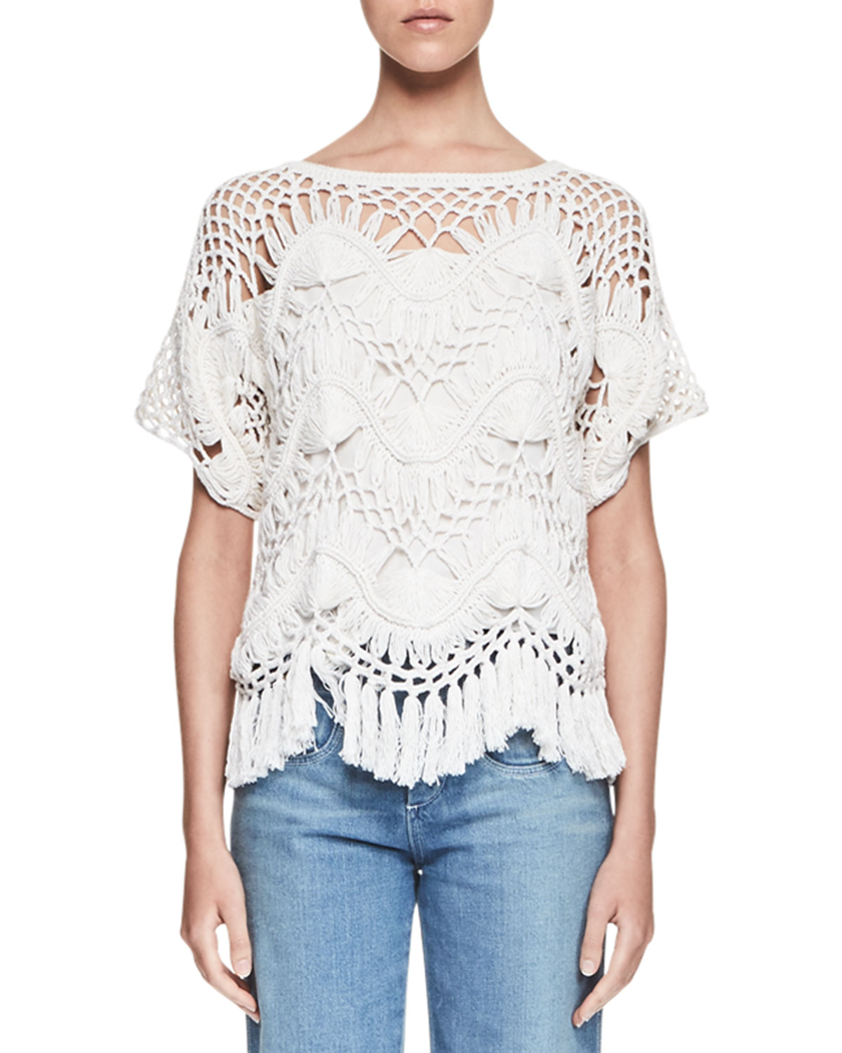 Macrame Short-Sleeve Crewneck Sweater, Milk