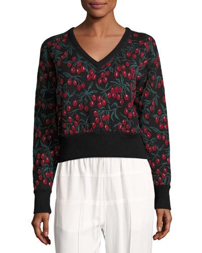 Cherry-Lace 3/4-Sleeve Sweater, Black