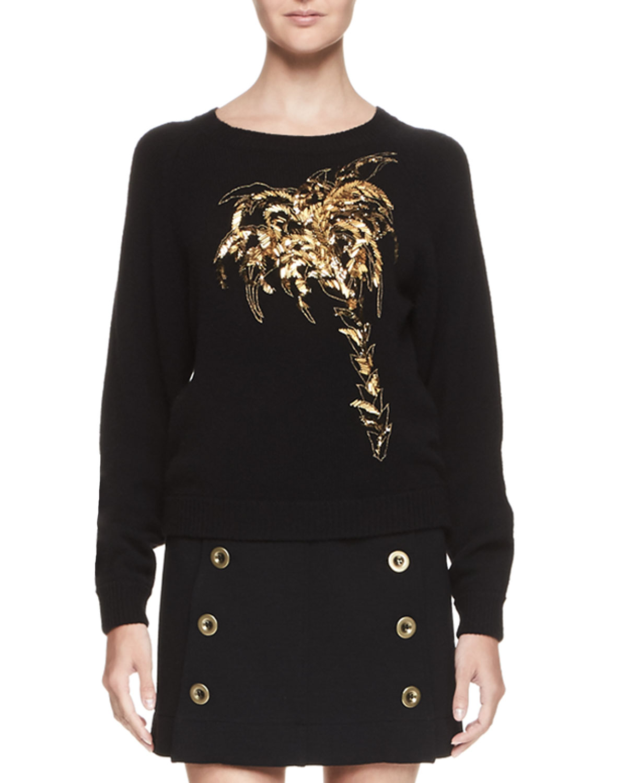 Palm Tree Crewneck Sweater, Black/Gold