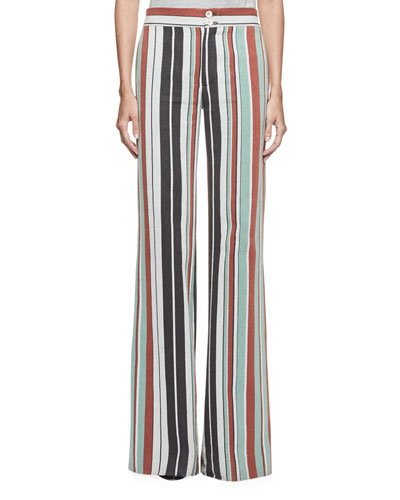 Striped Wide-Leg Trousers, Multi