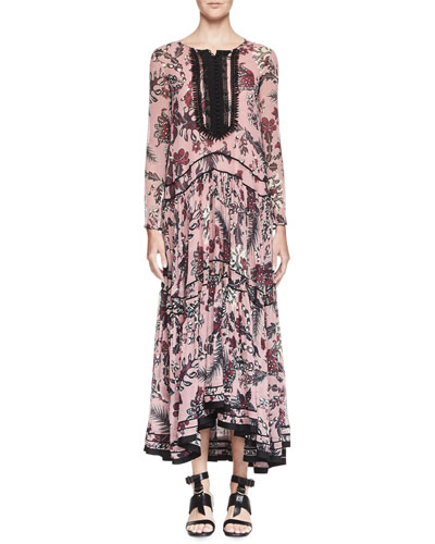 Cactus-Print Silk Maxi Dress, Pink/Burgundy