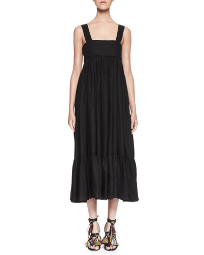 Square-Neck Linen Tie-Back Maxi Dress, Black