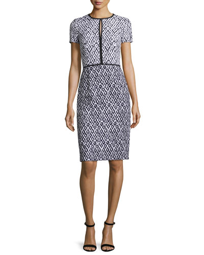 Tweed Keyhole Sheath Dress, Navy/White