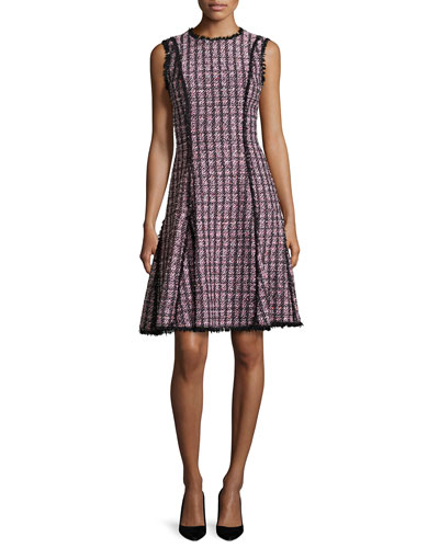 Tweed Sleeveless A-Line Dress, Black/Pink