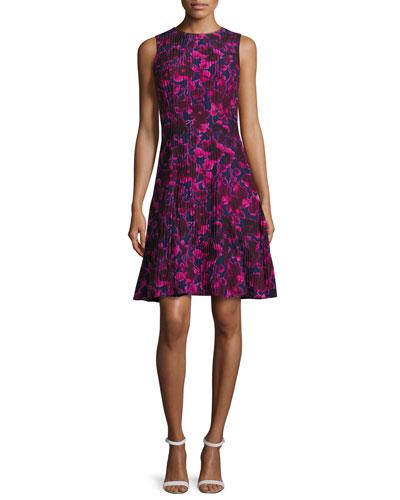 Rose-Print Sleeveless A-Line Dress, Navy