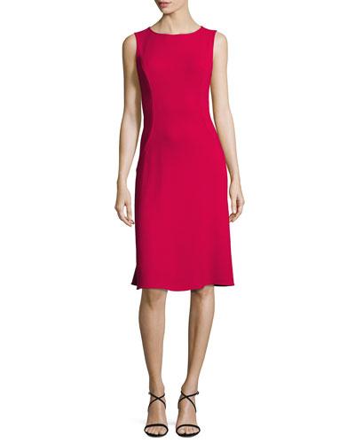 Sleeveless Bateau-Neck Flounce Dress, Currant
