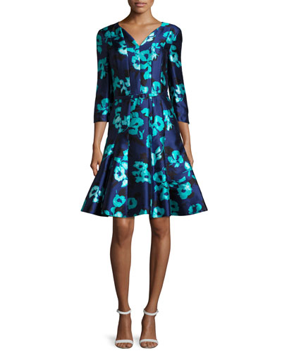 Floral 3/4-Sleeve Split-Neck Dress, Navy