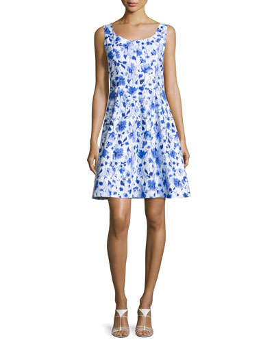 Sleeveless Floral-Print A-Line Dress, Blue
