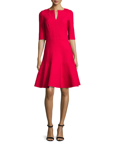 3/4-Sleeve Split-Neck Dress