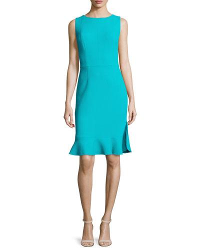 Ruffled-Hem Sleeveless Dress, Cyan