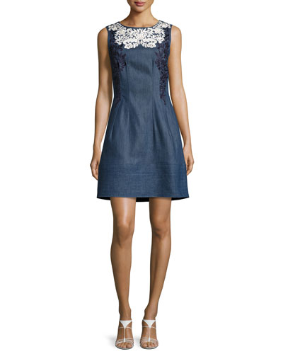Threadwork-Embroidered Denim Dress, Blue