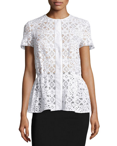 Short-Sleeve Snap-Front Peplum Blouse, White