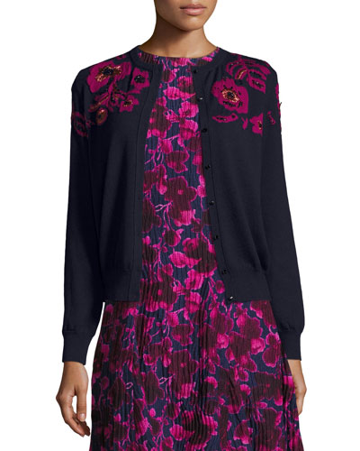 Rose-Embroidered Long-Sleeve Cardigan, Navy/Pink