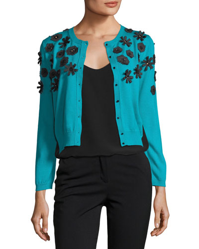 Long-Sleeve Button-Front Wool Knit Cardigan w/ Appliques