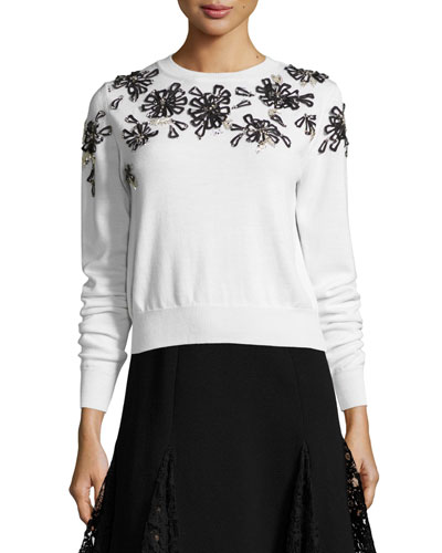 Beaded Floral-Embellished Sweater, White/Black