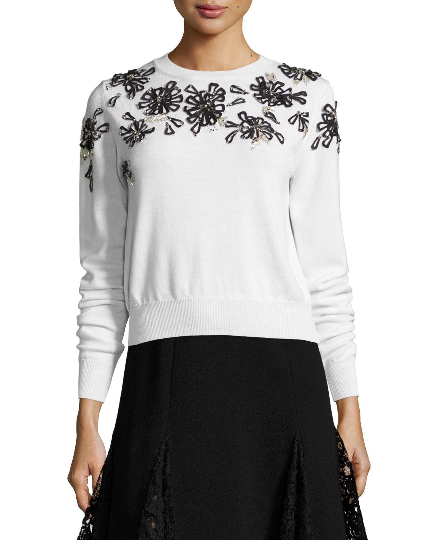 Beaded Floral-Embellished Sweater, White/Black