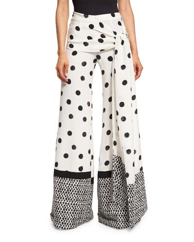 Polka-Dot Wide-Leg Pants, Black/White