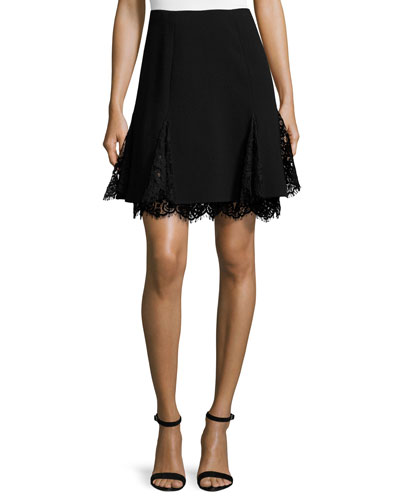 Lace-Inset Flared Skirt, Black