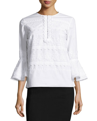 Tiered Lace Poplin Bell-Sleeve Top, White