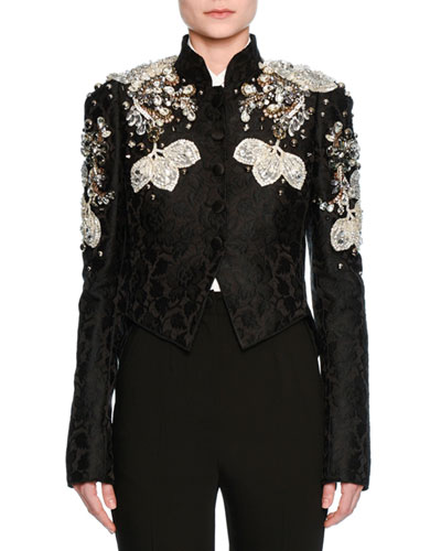 Jeweled Floral Jacquard Cropped Jacket, Black