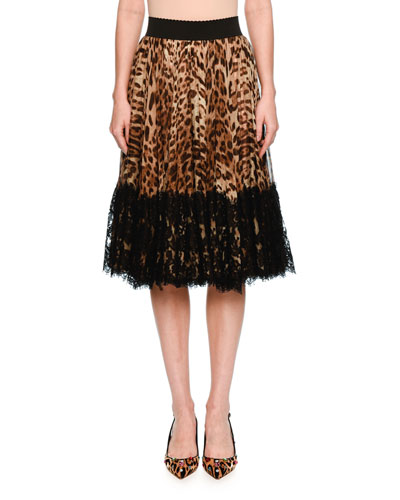 Lace-Hem Pleated Leopard-Print Skirt, Brown/Black