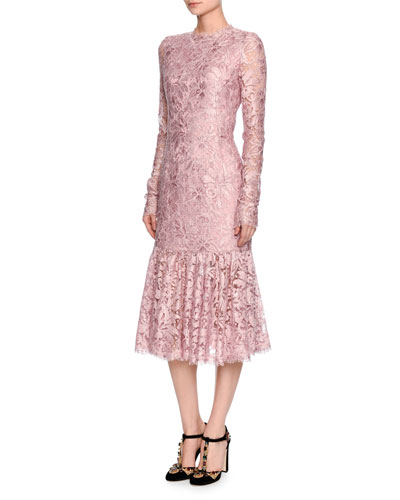Long-Sleeve Lace Flounce-Hem Dress, Light Pink