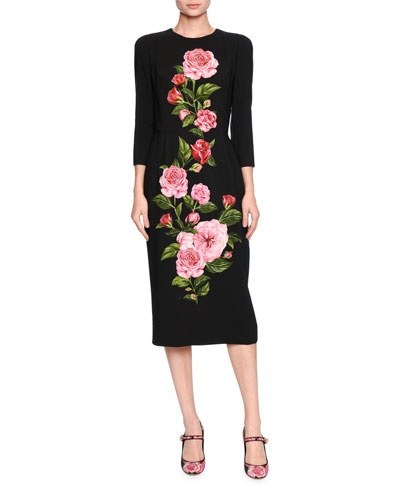 Rose-Print Cady Midi Dress, Black/Pink
