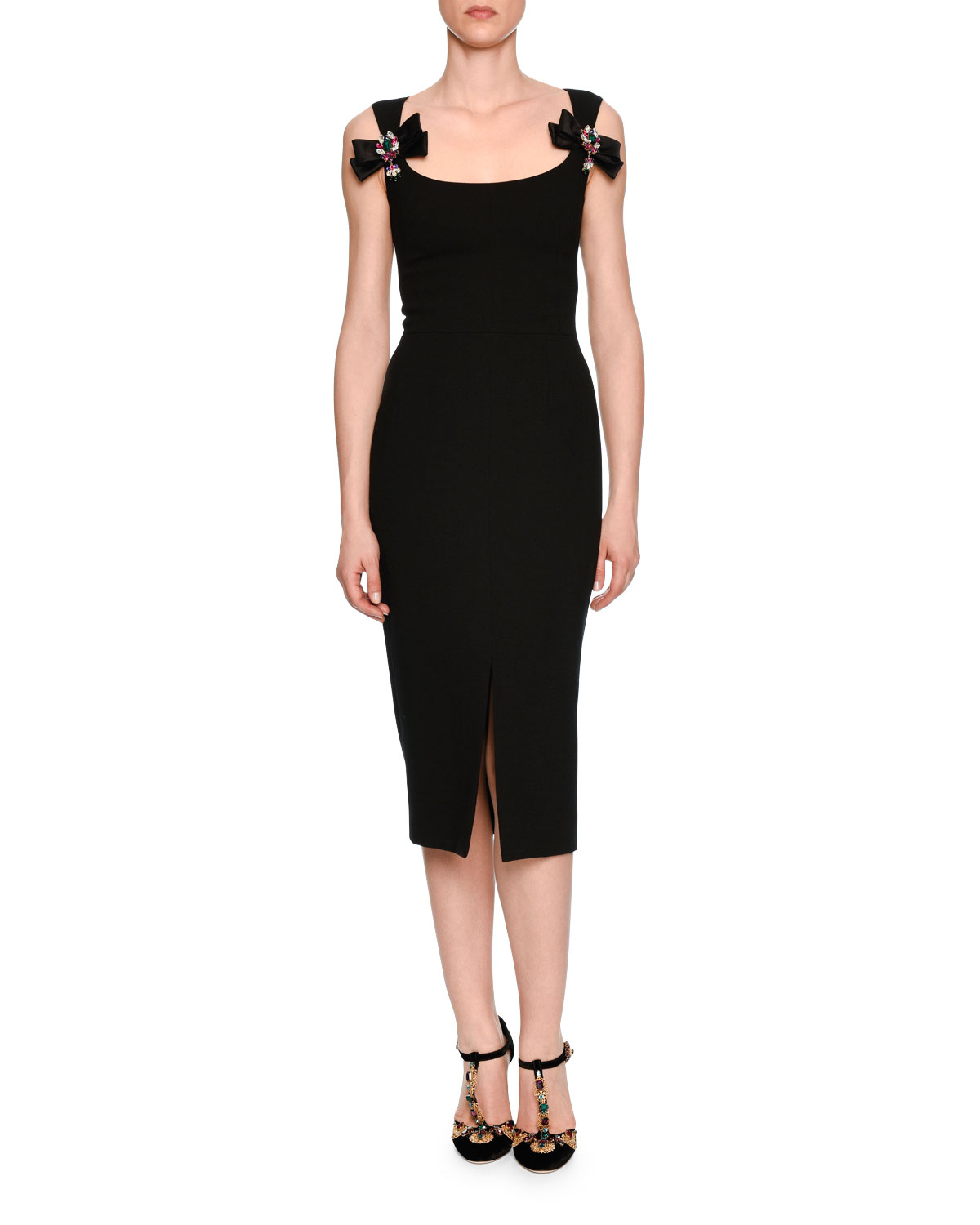 Bow-Front Scoop-Neck Cocktail Dress, Black