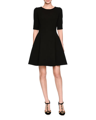 Elbow-Sleeve Fit-and-Flare Dress, Black
