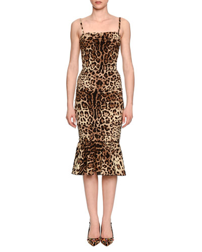 Ruched Leopard-Print Satin Cocktail Dress
