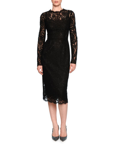 Floral-Lace Long-Sleeve Dress, Black