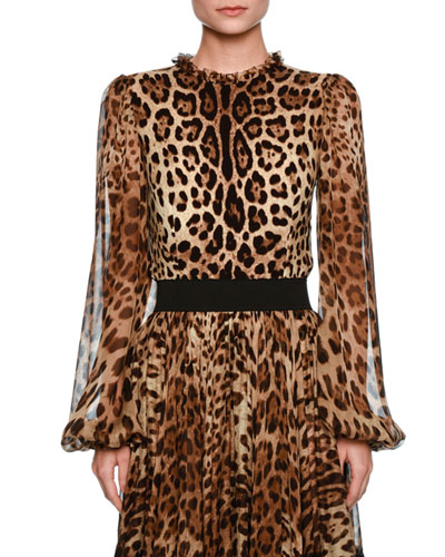 Leopard-Print Sheer-Sleeve Blouse, Brown/Black Leopard