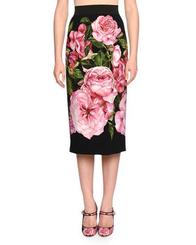 Rose-Print Pencil Skirt, Rose Pink/Black