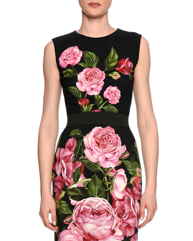 Rose-Print Crewneck Shell, Black/Rose Pink