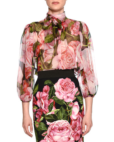 Tie-Neck Rose-Print Sheer Blouse, Rose Pink/Black