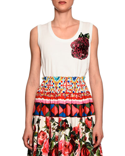 Sleeveless Scoop-Neck Tee w/Sequin Rose, White