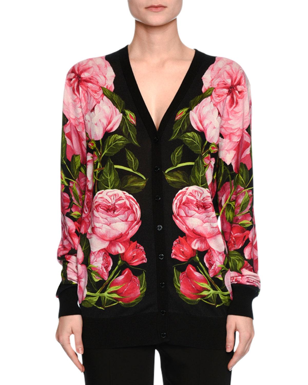 Rose-Print Long Cardigan, Black/Rose Pink