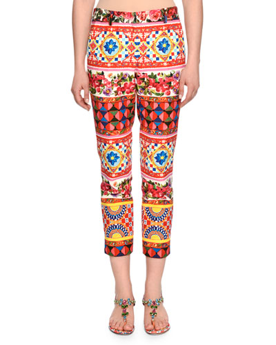 Membo-Print Straight-Leg Ankle Pants, Red/Yellow/Blue
